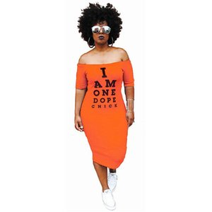 Fashion-Letters Print Skinny Womens Dresses I AM ONE DOPE CHICK Abito manica corta casual Plus Size