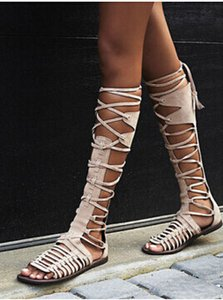 Summer Gladiator Knee High Shoes Strappy Lace-Up Sandals Cut-Outs flat Boots Sandals Brown Beige Gray Shoes Woman