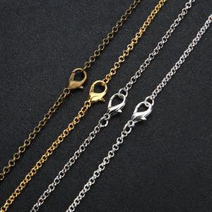 10pcs / lot Or Argent Bronze Antique Couleur 3 mm ronde Lien chaîne Collier avec mousqueton 60 cm Fit bricolage Fabrication de bijoux résultats