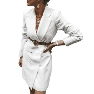 2019 New Arrival Women Ladies V Neck Long Sleeve Double Breasted Blazer Causal Office Dresses Office Lady Button High Waist