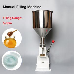 Gratuit DHL! machine de remplissage alimentaire manuelle pression de la main 1-50ml pâte inoxydable distribution machine à huile crème racking équipement d'emballage pour liquides