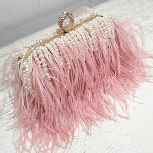 Luxy Moon Дамы Розовый сумка Pearl сцепления сумка Дизайн Свадебные Кошелек перо плеча Сумка ZD1509