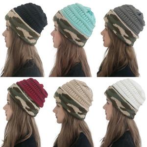 Parti Şapkası Moda Leisure Örme Cap Kadınlar Sonbahar Kış Kamuflaj Sıcak Yün Şapka ile Topu Şenlikli Noel Partisi WX9-1757 Malzemeleri