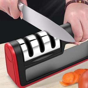 التعامل المنزلية سكين مبراة الصلب كربيد السيراميك شحذ الحجر 3 مراحل سكاكين المطبخ المباري