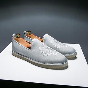 Erkek Canva Ayakkabı Erkek Kenevir Espadrille Üst Kalite Kaplan Nakış Tasarımcı El Yapımı Balıkçı Ayakkabı Q-552 Erkek Loafers Flats Slip On