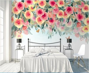 3d wallpaper custom photo mural Modern ins watercolor flower pastoral background wall pastoral flower mural home decor wall art pictures