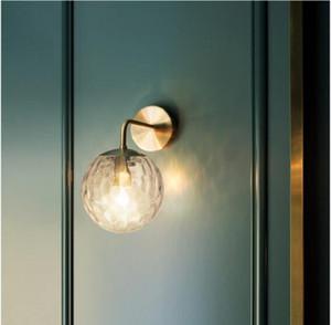 İskandinav Cam Pirinç Duvar lamba başucu odası başucu lambası Cam Pirinç Duvar lambası Salon koridor yatak odası