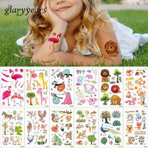 7.5 * 12cm glaryyears 12 pezzi / set autoadesivo del tatuaggio temporaneo bambini disegni CE fumetto fox fenicottero tatuaggi animali body art 2018 D19011202