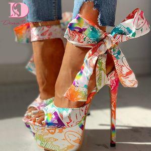 Doratasia 2020 сексуальные туфли с принтом супер тонкий высокая высокие каблуки обувь сандалии женщины лето вечеринку платформа лодыжки-Wrap женщины сандалии женщина S20326