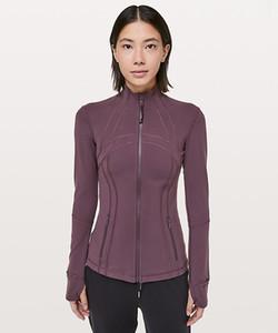 LU-38 Kadınlar Spor ceket Uzun Kollu Yoga Ceket Elastik İnce Yoga Üst Kadınlar Spor Gömlek Koşu Ceket olağan biçimde tanımlayın fermuar
