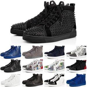 2020 Christian Louboutin Designer Sneakers Red Bottom Schuh Low Cut Studded Spikes Luxus Schuhe für Männer und Frauen Schuhe Party Hochzeit Kristall Leder Sneakers