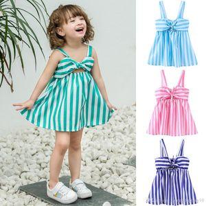 Vestidos da menina do bebê Bow Stripe Dress Crianças Roupas de grife Meninas Suspender Dress 2019 Summer Beach Dresses 12 cores