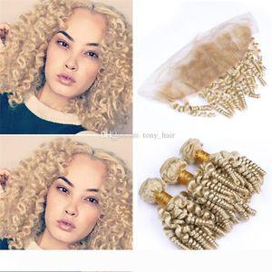 Frontal Dantel Kapatma # 613 Sarışın Romance Bouncy Bukleler İnsan Saç atkıların ve Cepheler ile Platin Sarışın Teyze Funmi Kıvırcık Saç Paketler