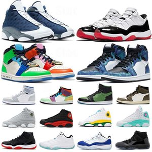 Sapatos da nike jordan 1 Fearless white off Travis Scott air jordan 11 LOW WMNS CONCORD HIGH Bred 11s nike retro 13 Flint 13s Basketball STOCK X Zoom R2T jumpman tênis de basquete