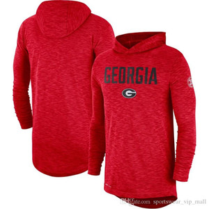 Men's NCAA Georgial Bulldogs Red Rivalry Shirts 2019 Sideline Long Sleeve Hooded Performance Top T-shirts red grey black