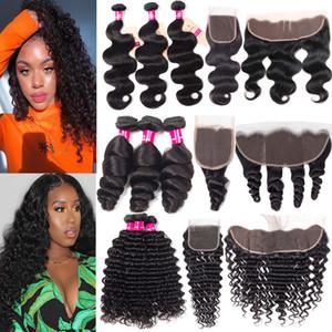 9A pacotes de cabelo humano brasileiro com fecho 4x4 fecho de renda ou 13x4 orelha a orelha lace frontal corporal onda reta encaracolados onda de cabelo de wave