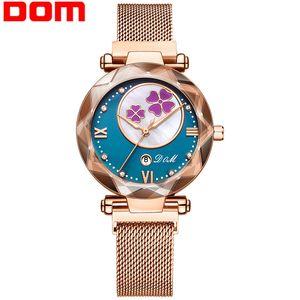 DOM-Frauen-Uhr Luxus Magnetic Buckle Mesh-Band-Quarz-Armbanduhr Weibliche Rose Gold Uhren zegarek damsk G-1257GK-1M