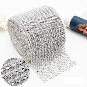 10 yard 24 Reihen Biegbar Diamant Mesh Wrap Rolle Silber Gold Sparkle Strass Kristallband Kunststoff Diamant Mesh Band DBC VT0773
