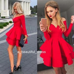 Red A-Linie kurze Abendkleider weg von der Schulter Rüschen Satin mit langen Ärmeln Formal Abiballkleider Mini Kleiner Partei-Kleid-Abschluss-GD7881