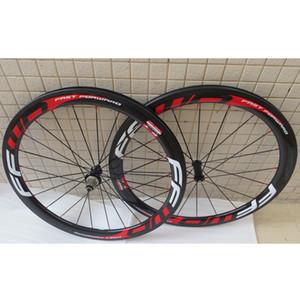 탄소 도로 자전거 바퀴 50mm FFWD 흰색 빨간색 데칼 clincher 자전거 바퀴 wheelset 현무암 브레이크 표면 3K 광택 파워 웨이 R36 허브