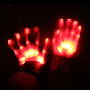 Weihnachtsgeschenk LED-Glühen Handschuh-Partei-Flash Lady Handschuhe Konzert Noctilucent Handschuh für Mann Finger Luminous Glove-Halloween-Kostüm VT0579