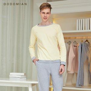 DO DO MIAN спортивный костюм мужчины свободные пижамы набор повседневная Свободная хлопчатобумажная ночная одежда свободная домашняя одежда Ночные рубашки+нижние брюки Y200422