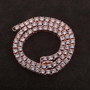 Fashion Iced Out Tennis Chains Mens Hip Hop Jewelry 4mm Alloy Rhinestones Single Row of Cuban Miami Chain Necklace