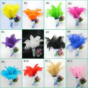 30-35 cm Yüksek Kaliteli Boyalı Büyük Devekuşu Tüyü Devekuşu Saç Ağartılmış Devekuşu Saç Düzenli Renk Stok EEA515