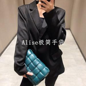 ins simples petites cassettes paquet carré sacs en cuir de sac de l'éponge sac à bandoulière tissé sac oreiller à carreaux diagonale