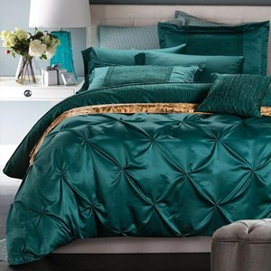 J 6Pcs Silk Cotton Luxury Bohemia Bedding sets King Queen Size Solid Color Duvet cover Bedsheet Pillowcases Christmas Gift