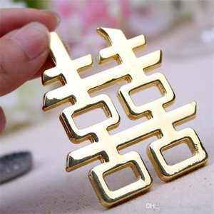Wedding Ceremony Marry Bottle Opener Gift Golden Red-Double Happiness Chinese Style Alloy Beer Wine Openers Party Decoration 5kk ff