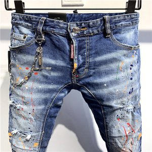 07.2020 high-quality men's jeans, distressed jeans, rock skinny, slim, holed stripes, fashion embroidered denim pants