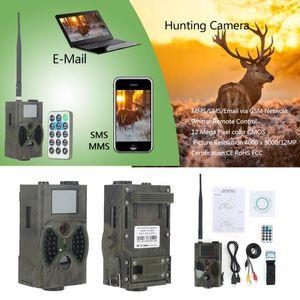 HC300M 트레일 카메라 GSM 12MP 1080P 사진 트랩 야간 적외선 비전 야생 동물 적외선 사냥 카메라 헌트 샤쓰 스카우트