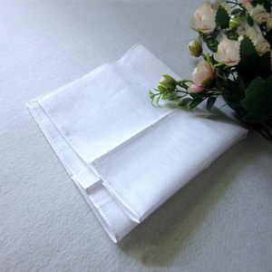 Сторона 34см Handkerchief 100% хлопок Мужской Таблица Сатин Буксиры площади Handkerchief Whitest 34см Мужчины Рождественский подарок Домашний текстиль LXL650-L
