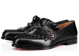 Элегантная мода Gentleman партии Bussiness платье Скольжение на бездельников шипы обувь одуванчика тапки Red Bottom Oxford Мужская отдыха Black35-46