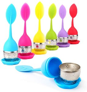 Silicone Tea Infuser Reusable Strainer Drop Tray Novelty Tea Ball Herbal Spice Filter Tea Tools Cute 7 Colors