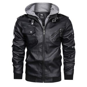 새로운 도착 남성 PU 가죽 자켓 가을과 겨울 남성 후드 고품질 남성 플러스 사이즈 톱 재킷 솔리드 컬러 재킷 코트