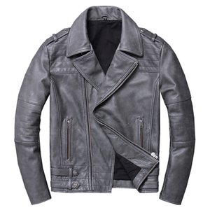 2019 Vintage Grey Men Slim Fit Biker's Leather Jacket Plus Size XXXL Genuine Cowhide Spring American Motorcycle Leather Coat