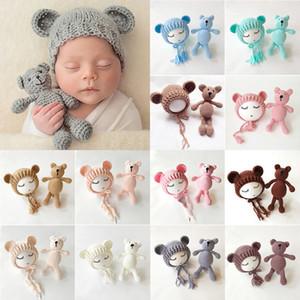 Nacidos bebés de los muchachos de punto de ganchillo oso del casquillo del sombrero del traje de fotografía apoya