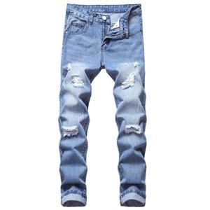 QMGOOD Light Blue Ripped Jeans Men Slim Stretch Fashion Streetwear Hip Hop Distressed Casual Denim Jeans Pants Male Trousers