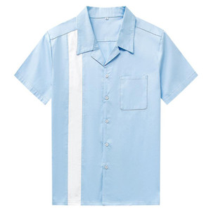 Chemisier Hommes Casual boutonnée Robe bleu blanc vertical Chemise rayée à manches courtes hommes ShirtsCamiseta Retro Bowling Hombre