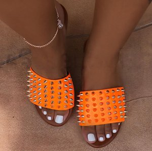 Freizeitschuhe hochwertige Sommer Sandalen Single Beach Slipper Schuhe Wohnungen mit Nieten verziert