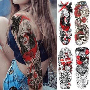 Falso Grande manica del braccio del tatuaggio del Corvo Clown Leone Fiore impermeabile Temporary Tatto Sticker Gun Vita Leg Body Art Tatoo completa Donne