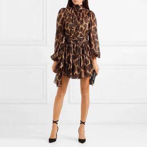 [MENKAY] 2019 Bahar Vintage Leopar Baskı Zarif Bandaj Elbise Bayan Sheer Uzun Kollu Kore Moda Giyim