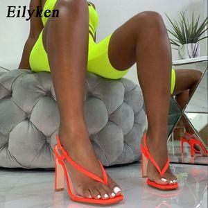 Eilyken Summer Sexy Оранжевый Высокий каблук Сандалии Женщины моды Назад ремешок Вьетнамки квадратный каблук 12см Гладиатор сандалии обувь MX200407