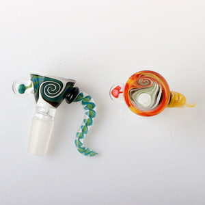 US Color 14mm Male Glass Wig Wag Bowl Green Yellow Glass Bong Bowl Piece Smoking Accessories For Glass Water Bongs Dab Rigs Tobacco