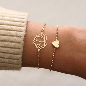 Kadınlar Boho Çiçek Kalp Link Zinciri Bilezikler Vintage Takı Hediyesi için Kalp Lotus Flower Charm Bileklik Seti 2pcs / Set Romantik Bileklik
