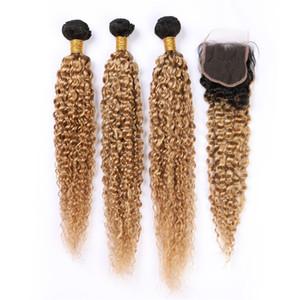 Kapatma ile Paketler # 1B 27 Bal Sarışın Ombre Kinky Kıvırcık Malezyalı Bakire saç örgüleri 3Bundles ile Açık Kahverengi Ombre İnsan Saç Kapanış