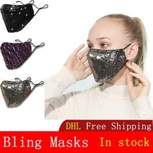 Yetişkin Ücretsiz Nakliye Bling Pullarda Anti-sis Toz geçirmez Kişiselleştirilmiş Moda Pamuk Koruyucu Maske Bling Moda Yüz maskeleri