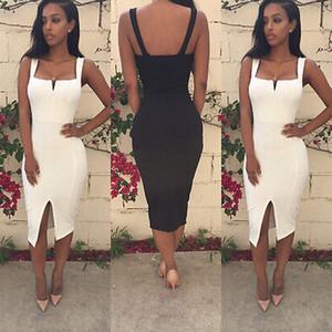Мода женщины лето повязки Bodycon свободного покроя платье сексуальный вечернее ремень карандаш платья